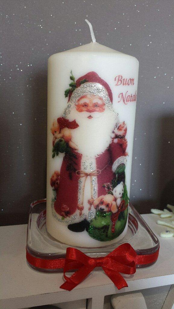 Candela decorata con babbo natale per la casa e per te - Decorare candele per natale ...