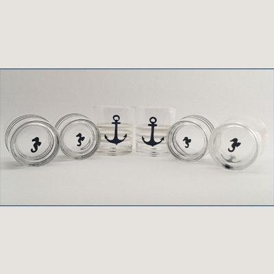 Set Bicchieri dipinti a mano soggetto àncora marina