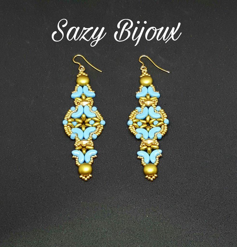 ALADIN Orecchini lunghi in tessitura di perline Oro e Azzurro