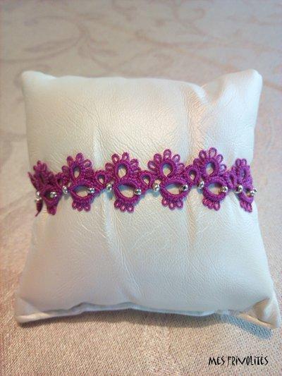 Braccialetto in pizzo chiacchierino Violet/Pink Dark con perline BP5VPDC