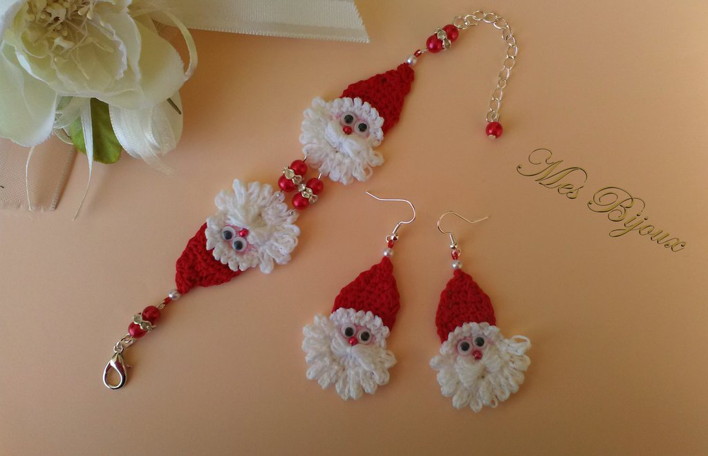 Parure bracciale e orecchini uncinetto pizzo  Babbo Natale idea regalo bambina ragazza