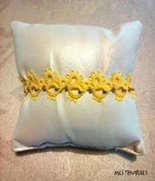 Braccialetto in pizzo chiacchierino Bright Yellow con perline BP5BYC