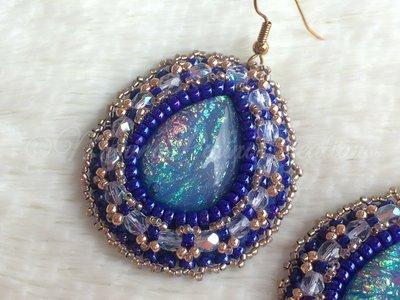 Orecchini Embroidery Blu a goccia
