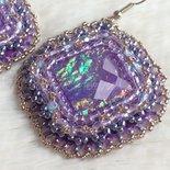 Orecchini Embroidery Viola a rombo