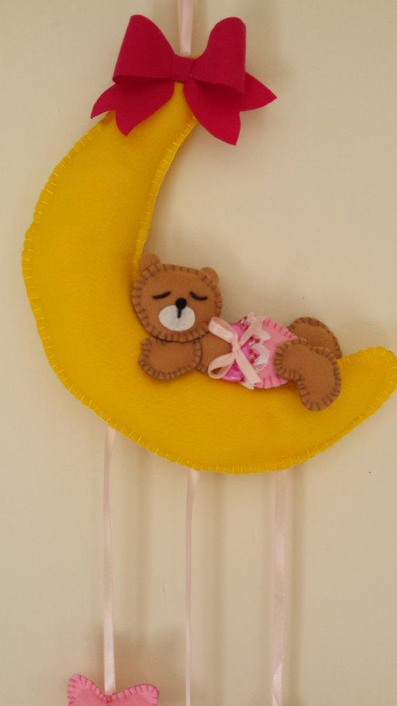 Fiocco nascita luna con orsetta