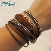 Bracciale multifile in ecopelle, marrone