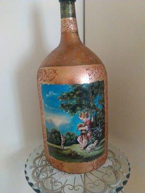bottiglione antico dipinto a mano