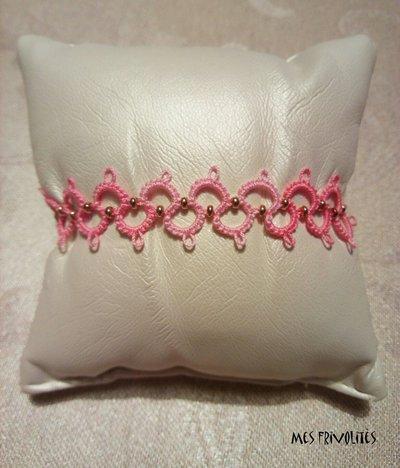 Braccialetto in pizzo chiacchierino Pink Parade con perline BP6PPC