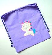 Zainetto lilla con unicorno