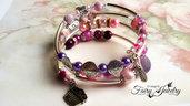 Bracciale spirale avvolgibile multi livello perle miste e ottone