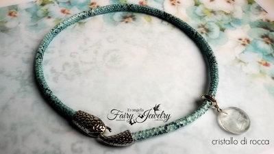 Collana serpente azzurro nero girocollo corta cristallo rocca bracciale spirale cristalloterapia