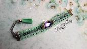 Bracciale verde  acqua cammeo cabochon nappa vetro bicolore catena alluminio alcantara regolabile serpente ecologico