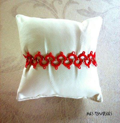 Braccialetto in pizzo chiacchierino Christmas Red con perline BP6CRC