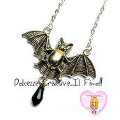 Collana Goth - Pipistrello con lacrima nera pendente - idea regalo pastel goth
