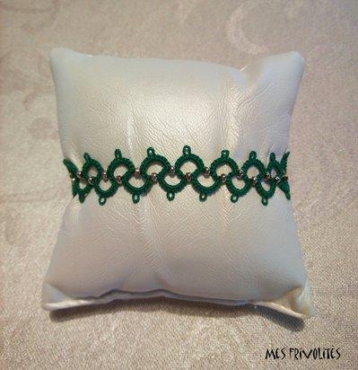 Braccialetto in pizzo chiacchierino Christmas Green con perline BP6CGC