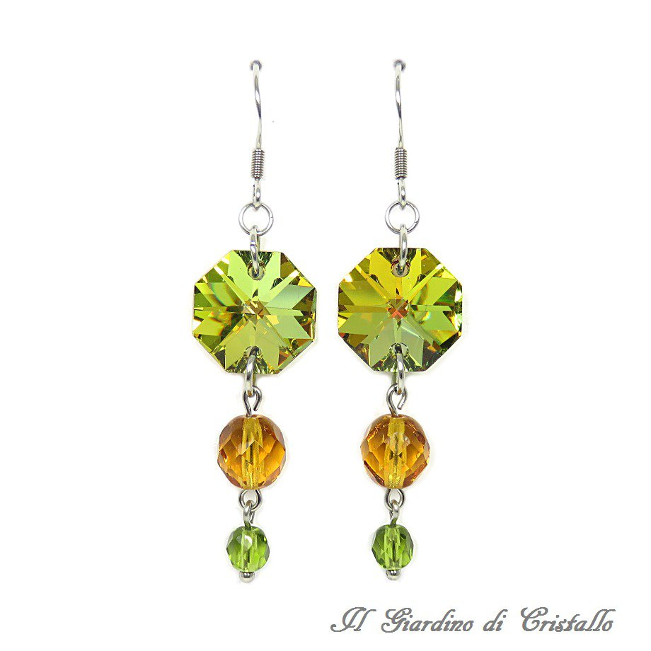 Orecchini pendenti colori autunnali ottagoni cristallo e acciaio fatti a mano - Amaryllis
