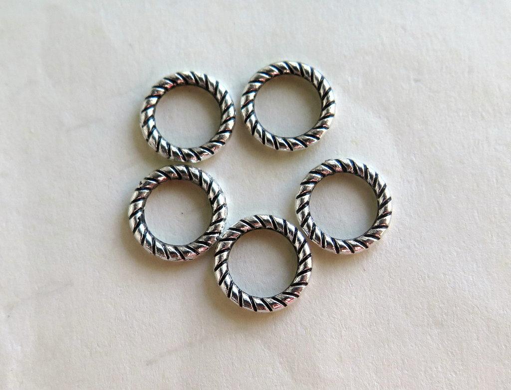Anellini lavorati silver plated 10 mm   FER14