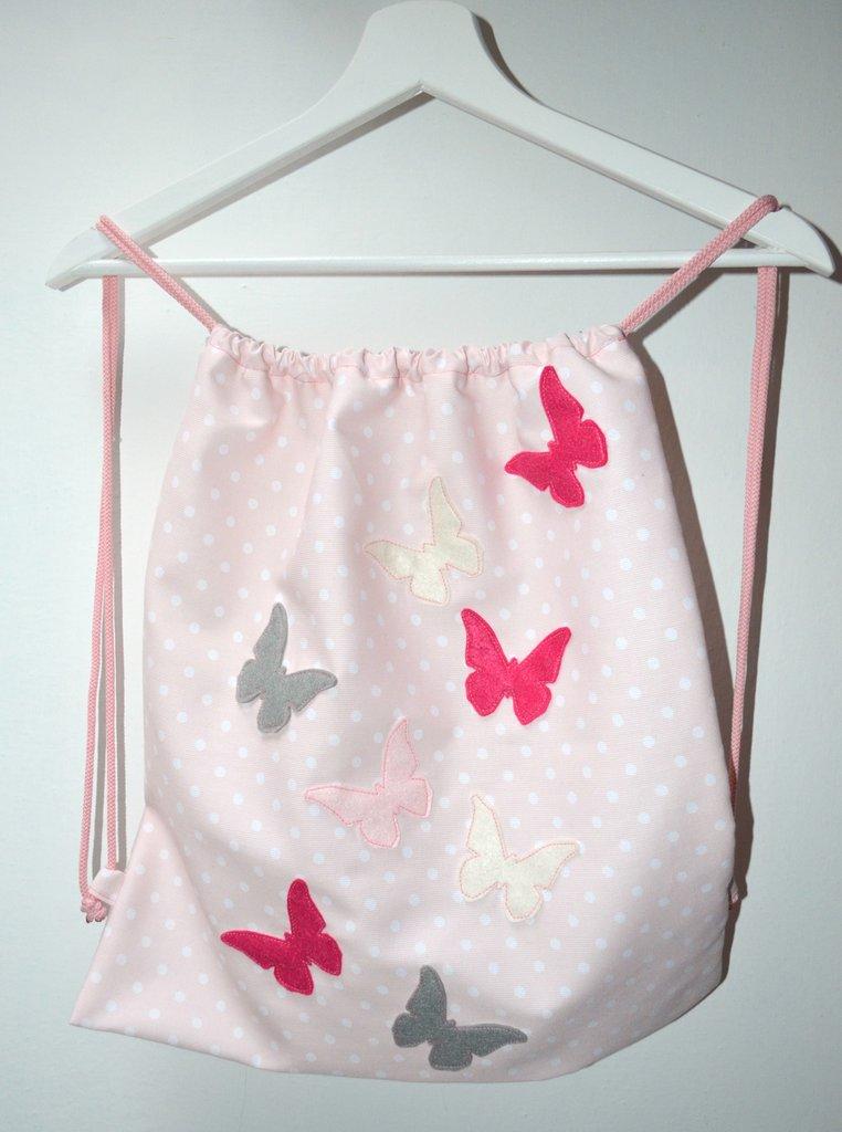 Zainetto rosa a pois con dolcissime farfalle