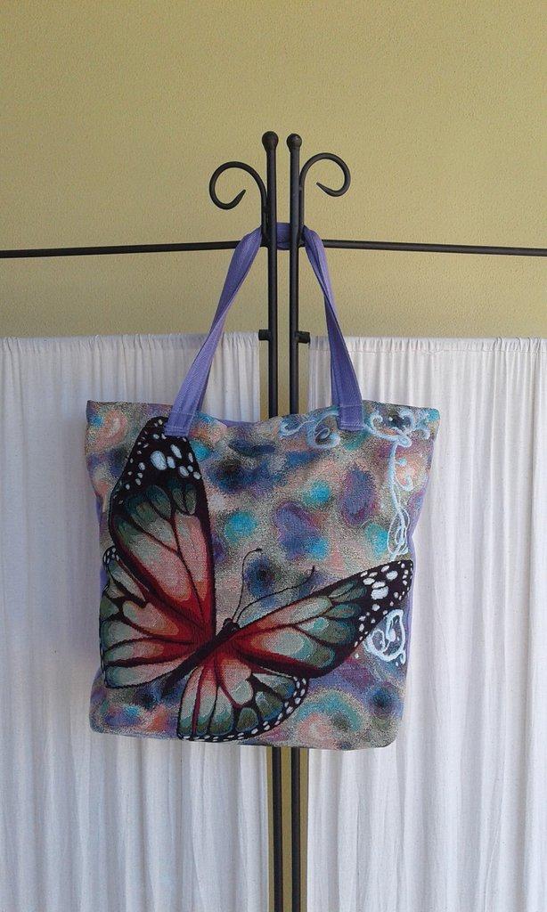 Borsa in tessuto stampa farfalla