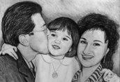 Ritratto su commissione da foto a matita famiglia regalo