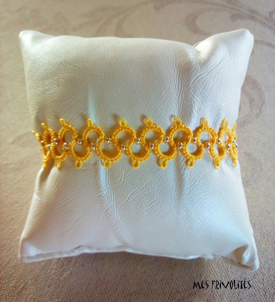 Braccialetto in pizzo chiacchierino Daffodil Med. con perline BP6DMC