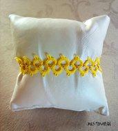 Braccialetto in pizzo chiacchierino Bright Yellow con perline BP6BYC