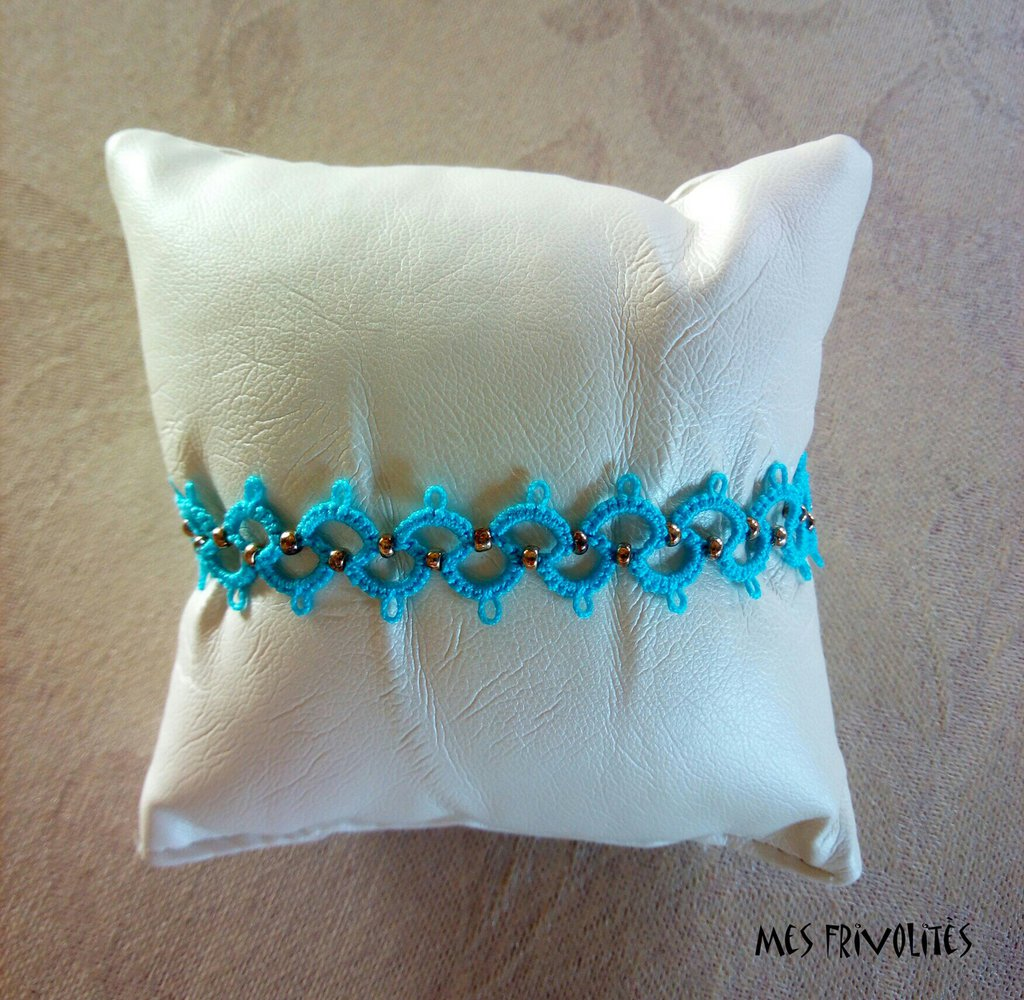 Braccialetto in pizzo chiacchierino Ocean Turquoise Light con perline BP6OTLC