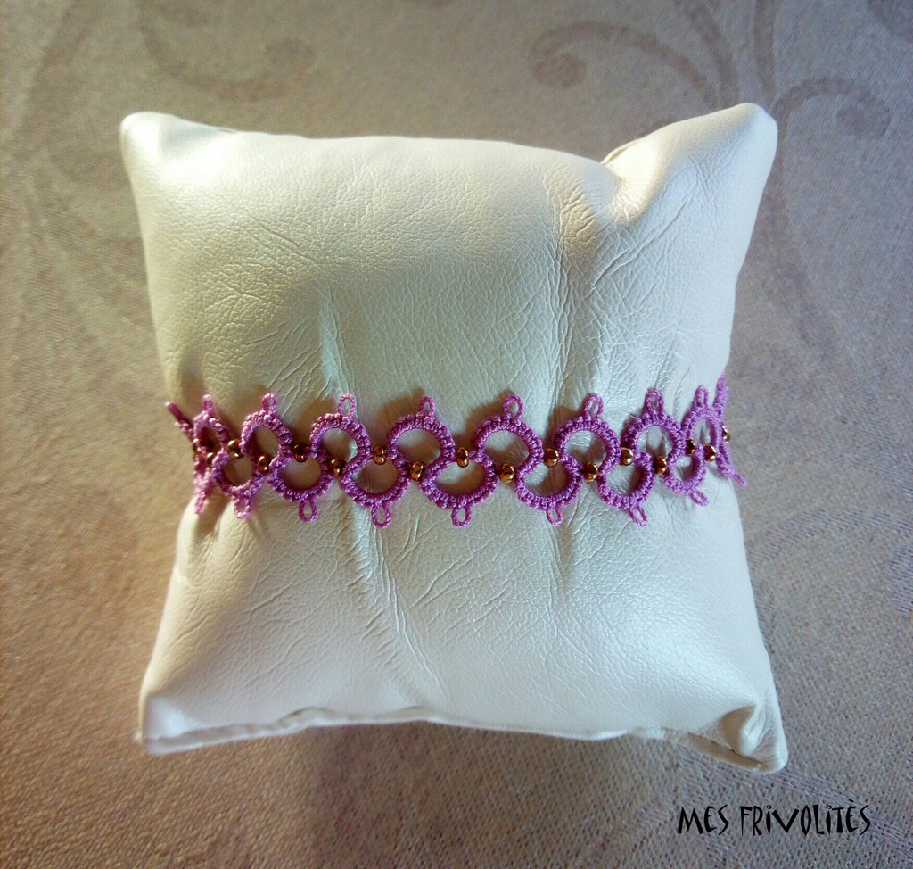 Braccialetto in pizzo chiacchierino Violet/Pink Med. con perline BP6VPMC