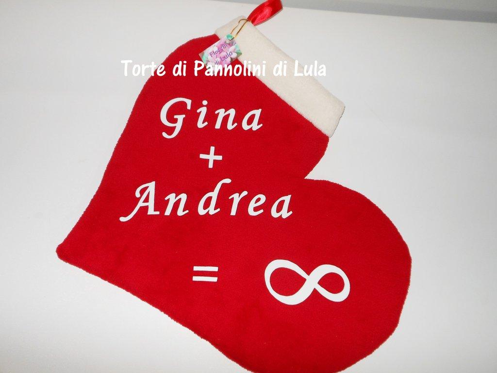 Calza Natale Epifania- Cuore gigante personalizzato - Idea regalo romantica ed originale per innamorati, fidanzati