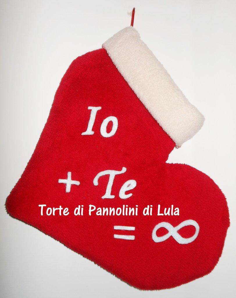 Calza Natale Epifania- Cuore personalizzato - Idea regalo romantica ed originale per innamorati, fidanzati
