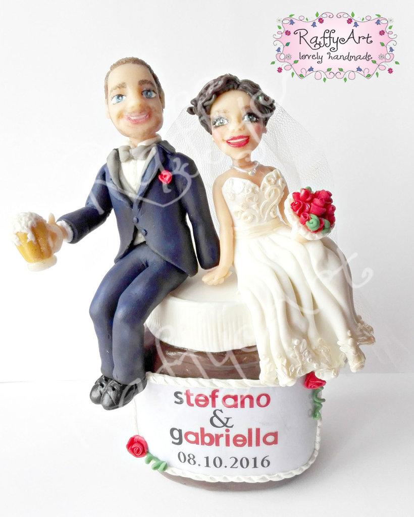 """Cake topper matrimonio """"Nozze al cioccolato"""" (personalizzabile)"""