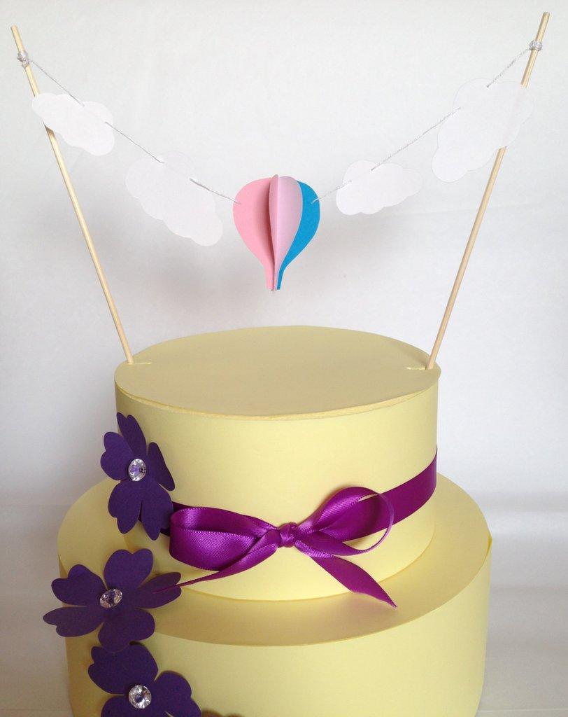 Cake topper con mongolfiera e nuvole, 3D