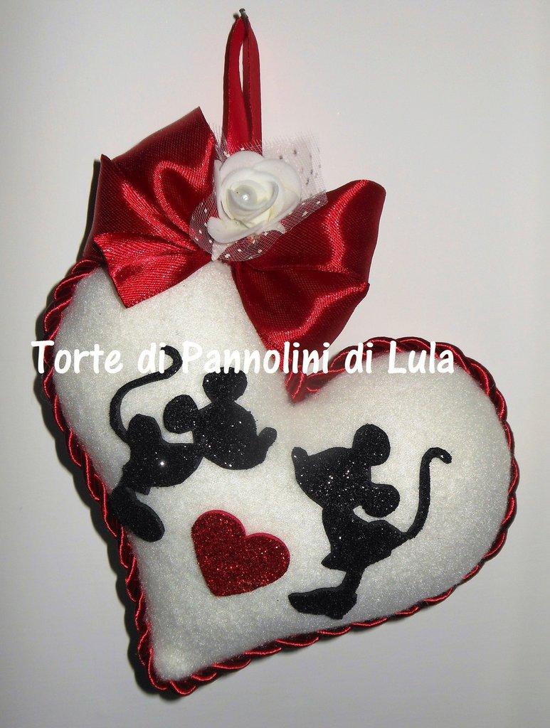 San valentino Cuore imbottito + Minnie Topolino innamorati. Idea regalo romantica bacio