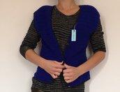giacca smanicato corto jilet fatta a mano uncinetto di lana