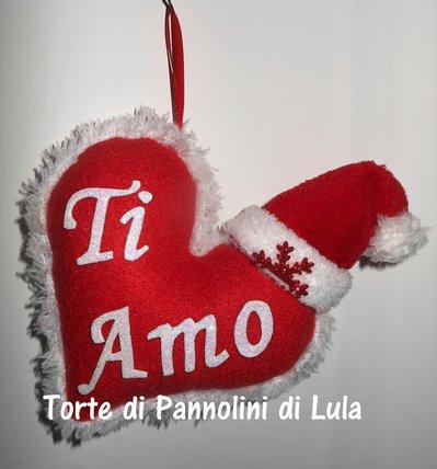 Decorazione Natale, pallina albero...Cuore imbottito + dedica/nome. Idea regalo romantica