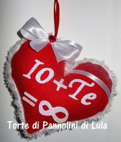 Idea regalo San Valentino Cuore imbottito + dedica/nome. Romantica lei donna amore