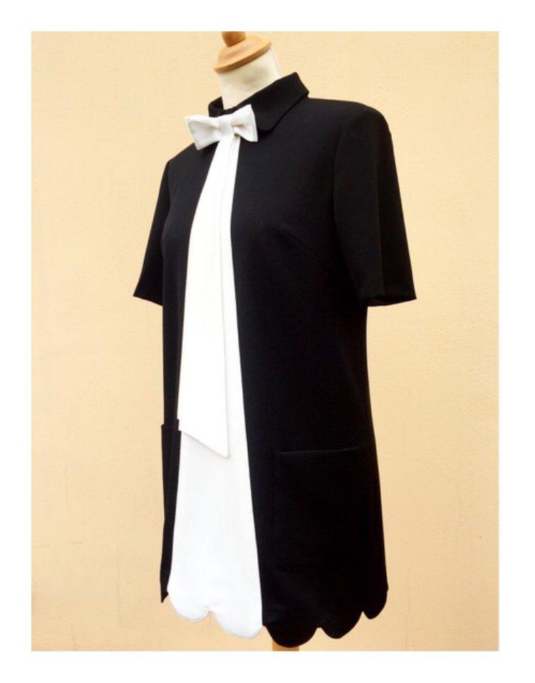 Mini abito bicolore nero e bianco
