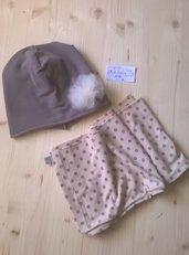 berrettina e sciarpa, fatto a mano, tg. 1-3 anni color tortora e pois