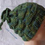 Berretto cappello o scaldacollo in lana verde azzurra lavorata ai ferri