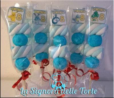 SPIEDINI MARSHMALLOW POKEMON Go_Personalizzati_NOME ANNI_Cialde_Compleanno_TORTA