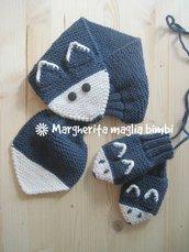 Sciarpa e muffole bambino - volpe blu - pura lana e alpaca fatte a mano