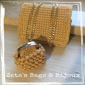 Pochette color oro con borsellino coordinato