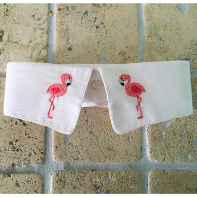 Flamingos :Colletto ricamato a mano // embroidered collar