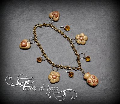 bracciale fimo| bracciale coccinella| bracciale cuori| bracciale fiori| bracciale ciondoli fimo| polymerclay bracelet| gioielli fimo| gioielli autunno|