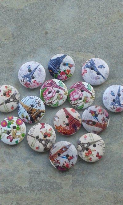 10 bottoni legno paris 15mm diametro