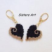 """Orecchini cuore """"Oro Nero"""" realizzati con perline Miyuki delica"""