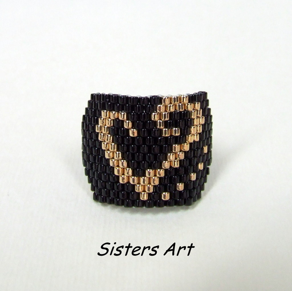 """Anello cuore """"Oro Nero"""" realizzato con perline Miyuki delica"""