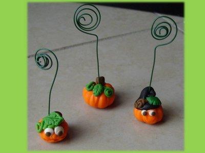 Zucche portafoto segnaposto di Halloween