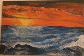"""Acrilico su tela """"Mare in tempesta al tramonto"""""""