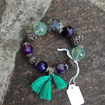Bracciale argento indiano verde e viola